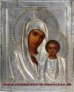 """Endzustand mit Verkleidung Restaurierung eine russische Ikone""""Gottesmutter von Kasan"""": Zustand mit Verkleidung (Oklad) nach dem Restaurierung"""
