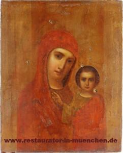 """Ikone """"Gottesmutter von Kasan"""": Endzustand ohne Verkleidung"""