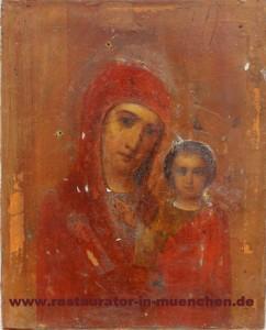 """Ikone """"Gottesmutter von Kasan"""": Vorzustand ohne Verkleidung"""