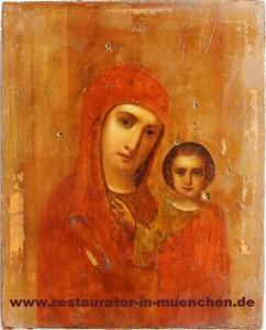 """Ikone """"Gottesmutter von Kasan"""": Zwischenzustand ohne Verkleidung"""