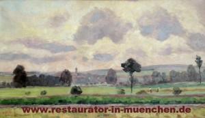 """Ölgemälde """"Feld und Kirchenblick"""" von E. Geiged: Zustand nach der Restaurierung"""