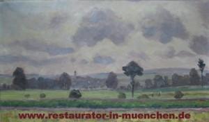 """Ölgemälde """"Feld und Kirchenblick"""" von E. Geiged: Zustand vor der Restaurierung"""