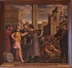 """Gemälde """"Bauwesen"""" von HANS FREYBERGER (1571–1632) """"Oberer Fletz"""" Sitzungssaal im Augsburger Rathaus  Zustand nach der Restaurierung"""